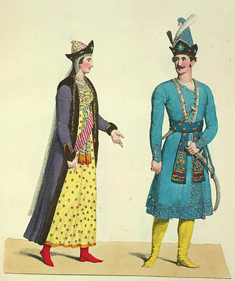 Bukharan Woman And Husband Poster by British Library
