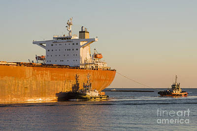Bulk Carrier Being Guided By Tugs Close Up On Bridge Poster