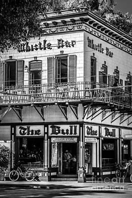 Bull And Whistle Key West - Black And White Poster