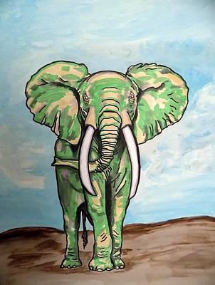 Bull Elephant Defending Turf Poster by Mary Sperling