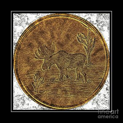 Bull Moose - Brass Etching Poster by Barbara Griffin