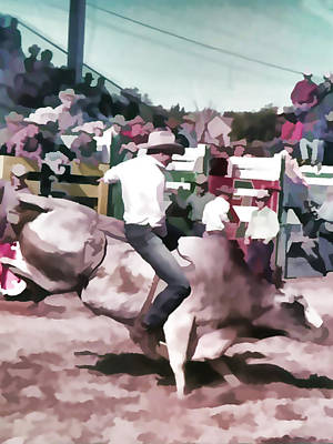Bull Rider Digital Art  By Cathy Anderson Poster by Cathy Anderson