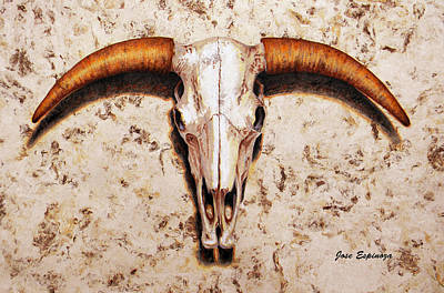 Bull Skull Poster by J- J- Espinoza