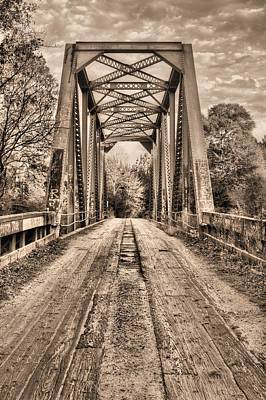 Bull Slough Bridge In Sepia Poster by JC Findley