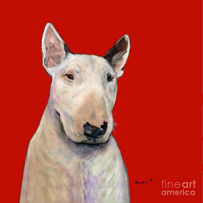 Bull Terrier On Red Poster