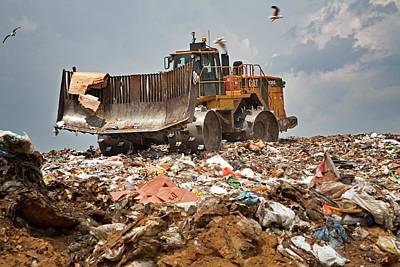 Bulldozer On A Landfill Site Poster by Jim West