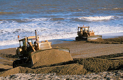 Bulldozers Rebuilding Beach Poster by Ashley Cooper