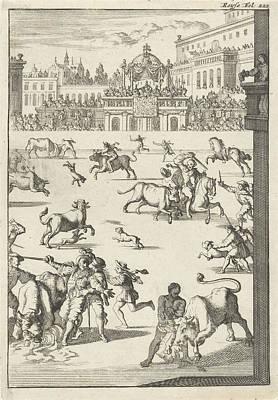 Bullfight In An Arena, Caspar Luyken, Willem Broedelet Poster by Caspar Luyken And Willem Broedelet
