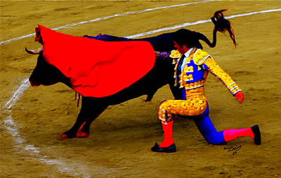 Bullfighter In Water Color Poster by Bruce Nutting