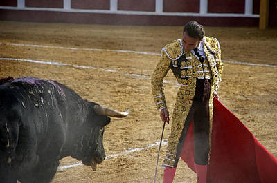 Bullfighter Manuel Ponce Performing During A Corrida In The Bullring Poster