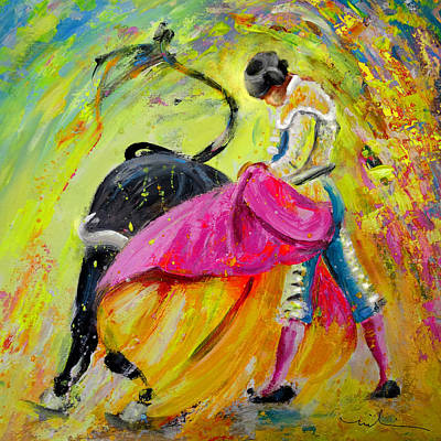 Bullfighting In Neon Light 01 Poster by Miki De Goodaboom