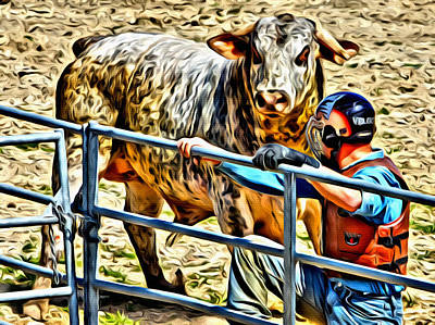 Bullrider And His Bull Poster by Alice Gipson