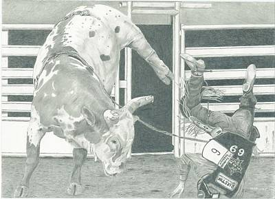 Bullrider Landed On Head Poster by Russell Britton