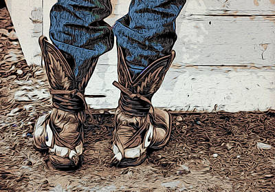 Bullriders Boots Poster by Alice Gipson