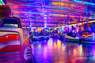 Bumper Cars At The Octoberfest In Munich Poster
