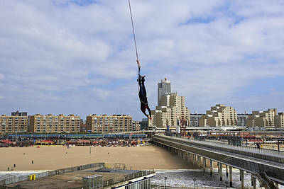 Bungee Jumping From The Pier Scheveningen The Hague The Netherlands Poster by Petr Bonek