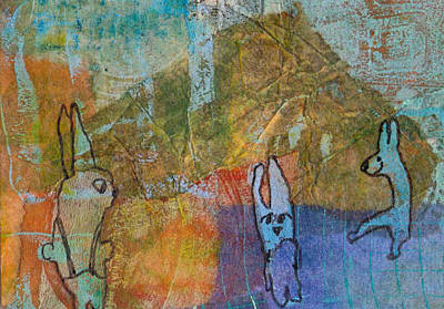 Poster featuring the mixed media Bunny Ballet by Catherine Redmayne