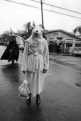 Bunny Head In The Rain On Mardi Gras Day Poster