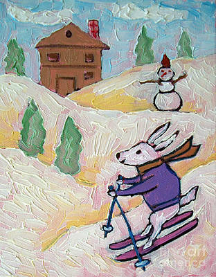 Bunny Skiing Poster by Jay  Schmetz