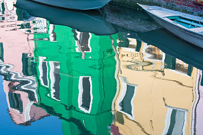 Burano Reflected Poster by Joan Herwig