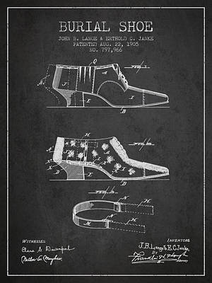 Burial Shoe Patent From 1905 - Charcoal Poster by Aged Pixel