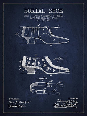 Burial Shoe Patent From 1905 - Navy Blue Poster by Aged Pixel