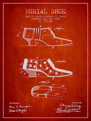 Burial Shoe Patent From 1905 - Red Poster by Aged Pixel
