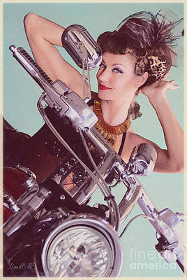 Burlesque Biker -portrait Poster
