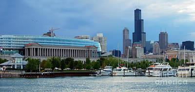 Burnham Harbor Under The Chicago Skyline And Soldier Field Poster by Wernher Krutein