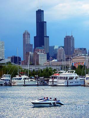 Burnham Harbor Under The Chicago Skyline Poster by Wernher Krutein