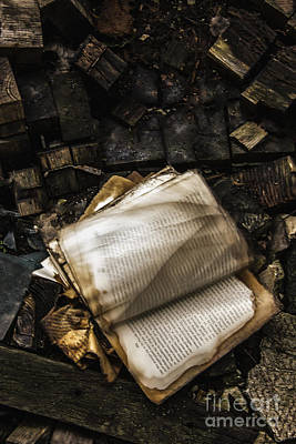 Burning Books Poster by Margie Hurwich