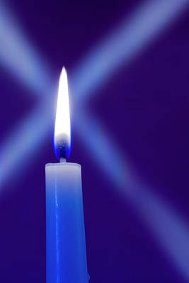 Burning Candle With Star Burst On Blue Poster by Jaynes Gallery