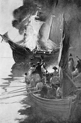 Burning Of The Gaspee, Illustration From Colonies And Nation By Woodrow Wilson, Pub. In Harpers Poster