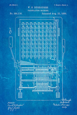Burroughs Calculating Machine Patent Art 1888 Blueprint Poster by Ian Monk