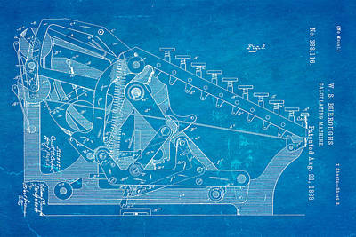 Burroughs Calculating Machine Patent Art 2 1888 Blueprint Poster by Ian Monk