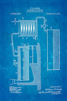Burton Gasolene Manufacture Patent Art 1913 Blueprint Poster by Ian Monk