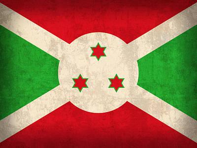 Burundi Flag Vintage Distressed Finish Poster by Design Turnpike