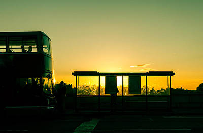 Bus Stop At Sunset Poster