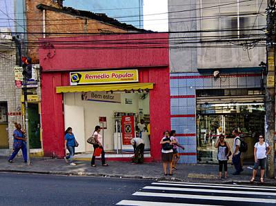 Bus Stop On Rua Teodoro Sampaio Poster by Julie Niemela
