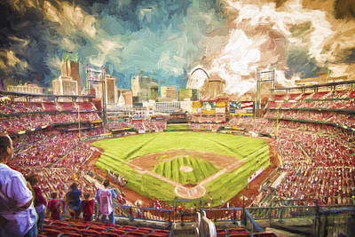 Busch Stadium St. Louis Cardinals Day Paint Poster by David Haskett
