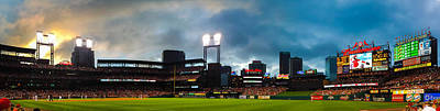 Night Game At Busch Stadium - St. Louis Cardinals Vs. Boston Red Sox Poster by Gregory Ballos