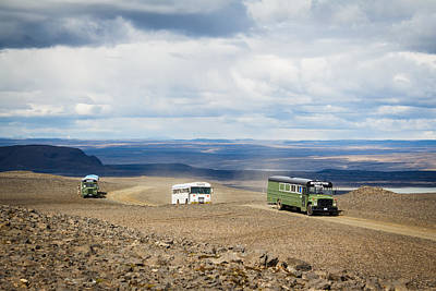 Poster featuring the photograph Buses Of Landmannalaugar by Peta Thames