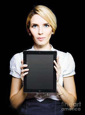 Business Woman Holding Touchpad Tablet Poster