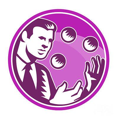 Businessman Juggler Juggling Balls Retro Poster