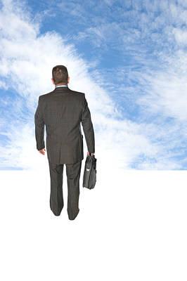 Businessman Walking Into Sky Poster by Joe Belanger
