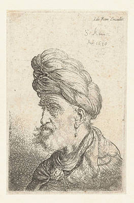 Bust Of A Man With Turban, Salomon Koninck Poster by Salomon Koninck