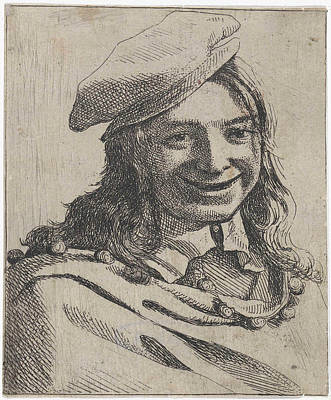 Bust Of Broadly Smiling Boy With Beret, Michael Sweerts Poster by Michael Sweerts
