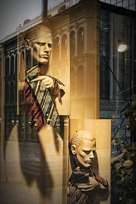 Busts With Neckties In Shop Display Window Poster