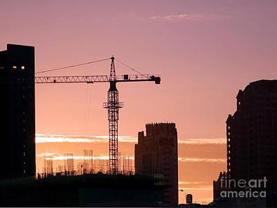Busy City Construction Site At Sunset Poster