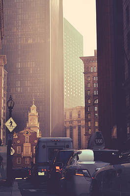 Busy Downtown Boston Usa Poster